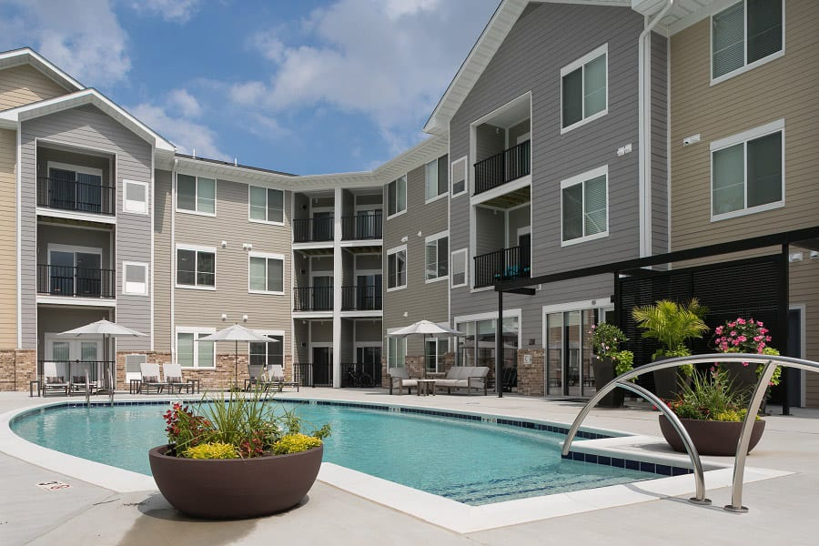 The Trace apartment community pool
